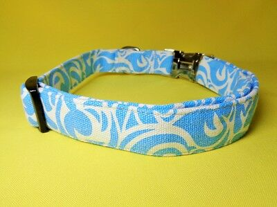 Blue white  CANVAS dog collar strong METAL CLIP  small medium extra large adjust