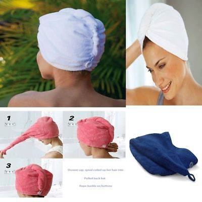 100% Cotton Turbie Twist Hair Wrap Drying Towel Turban Soft Bath Loop Fasten AU