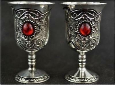 Chinese  Tibet Silver Style Carving Totem Inlay Red Bead Pair Usable wine Cups