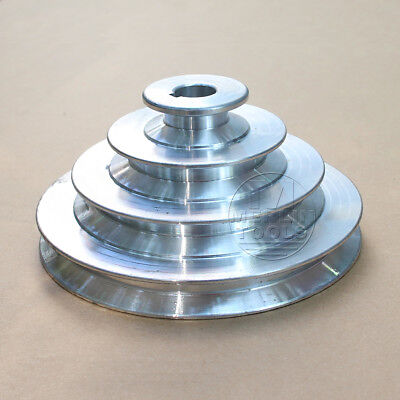 """OD 130mm, 4 Step Pulley 16mm Bore for 1/2"""" = 12.7mm  Belt width - Cast Aluminum"""