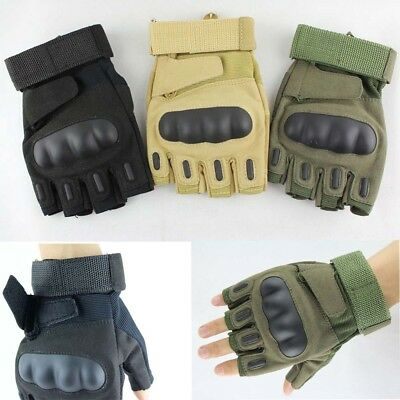 Military Tactical Fingerless Outdoor Motorcycle Hard Sport Half Finger Gloves