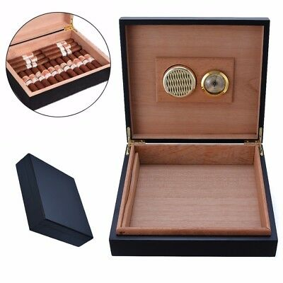 Black Wood Cedar Lined Cigar Storage Case Box Humidor Humidifier Hygrometer