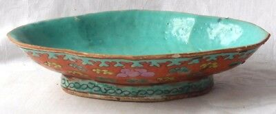 C19Th Chinese Famille Rose Footed Serving Bowl - Pinned At One End