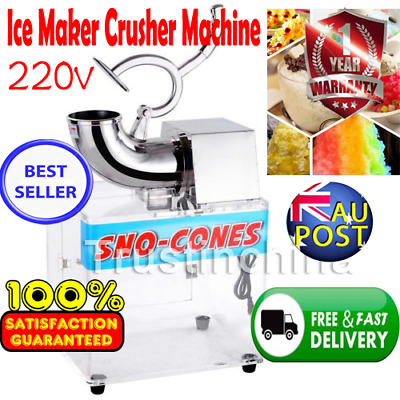 Electric Snow Cone Machine Ice Shaver Maker Shaving Crusher Dual Blades AUS Fast