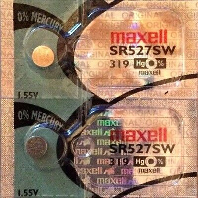 2 x MAXELL SR527SW 319 Silver Oxide 1.55 v Watch Battery made in JAPAN