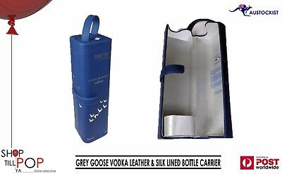 Grey Goose Vodka Leather & Silk Lined Bottle Holder/Carrier BNWOT FRANCE DESIGN