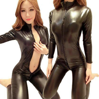 Woman Black Sexy Bodysuit Costume Fantasias Sexy Latex Catsuit With Zipper Suit