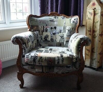 Unique French Arm Chair Banksy One of A Kind