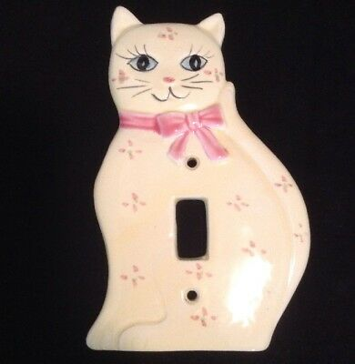 Vintage Yellow & Pink Kitty Cat Light Switch Plate Cover Single Toggle Ceramic