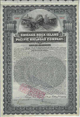 Iowa 1902 Chicago Rock Island & Pacific Railroad Company Bond Stock Certificate