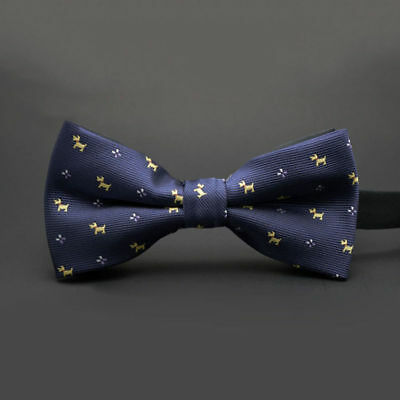 Dr Who Men 100% Silk Scottie Dog Adjustable Pretied Bow Tie & Pocket Square Set!