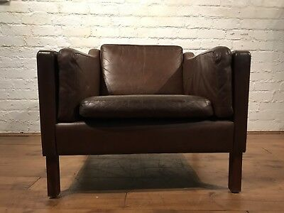 Vtg Mid Century Danish Leather Armchair Club Chair Stouby Morgensen Thams