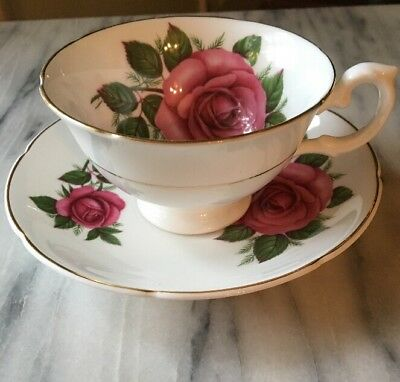 Royal Grafton England Large Dark Pink Rose INSIDE Footed Cup & Saucer PERFECT