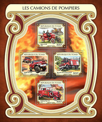 Chad 2017 MNH Fire Engines Trucks Mercedes Benz Delahaye Albion 4v M/S Stamps