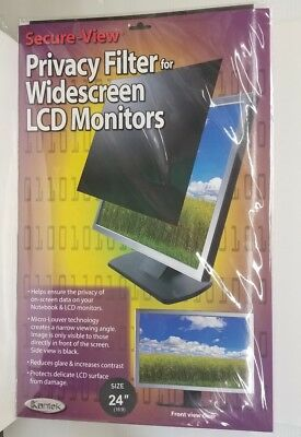 """Kantek SVL24W Secure-View Blackout Privacy Filter f/24"""" Widescreen LCD Monitors"""