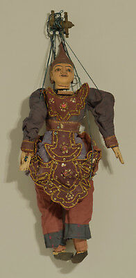 Puppet Burmese Asian Puppet Marionette Marionette Carved Wood Hand Painted