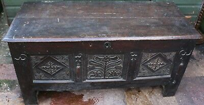 Fantastic Old Large Carved Wooden Coffer Or Chest To Restore