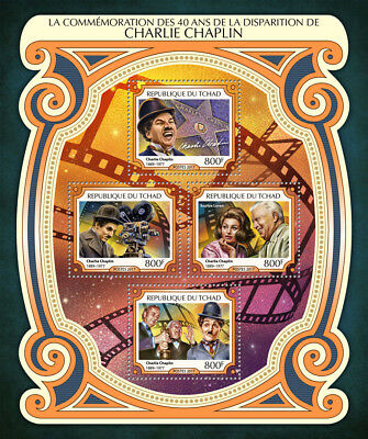 Chad 2017 MNH Charlie Chaplin 40th Memorial Sophia Loren 4v M/S Movies Stamps