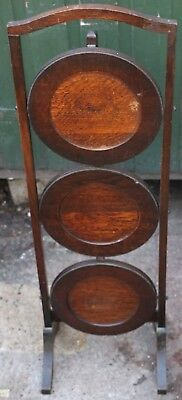 Old Wooden 3 Tier Folding Cake Stand To Polish Up