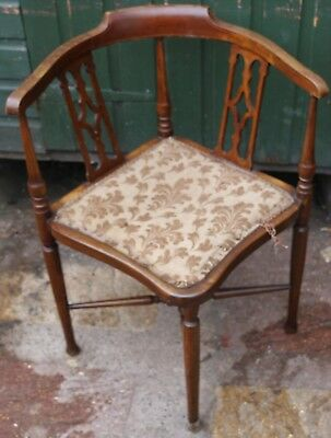 Good Old Wooden Inlaid Corner Chair To Reupholster