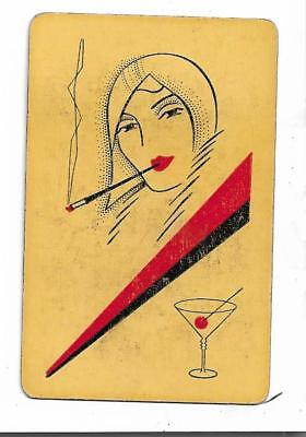 Art Deco Style Cocktail Hour X 1 Only Sgl.vintage Playing/swapcard..