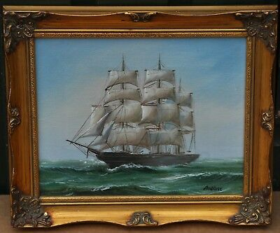 Very Small Gilt Framed Painting On Canvas Of A Ship By Ambrose
