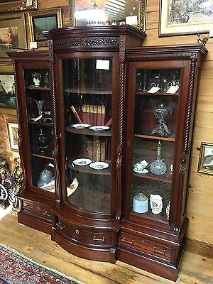 Carved Victorian Triple Door Bowed Glass Bookcase Near Mint Original Cherry