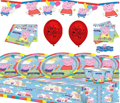 Peppa Party Kits for 8 16 24 32 40 Guests - Birthday Party Supplies - Balloons