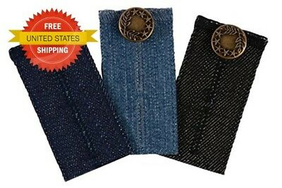 3 Pack Waist Extender Button Pants Jeans Shorts Men Women Dark Blue Black Blue