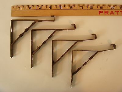 "Set of 4 Vintage  Metal Shelf Brackets/Braces, Matching Shabby Chic  3.5"" x 4"""