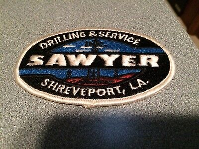 Vintage SAWYER Oil Drilling Company Embroidered Iron On Patch Shreveport LA.