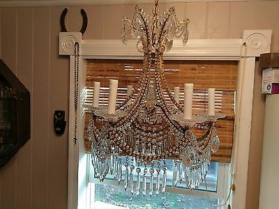 RARE Stunning Antique Gilted Metal & Crystal Chandelier RARE