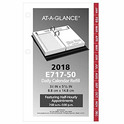 "AT-A-GLANCE Daily Desk Calendar Refill, January 2018 December 2018, 3-1/2"" X 6"","