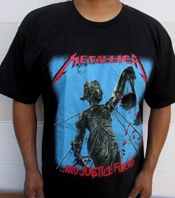 New! Metallica And Justice For All Black Heavy Metal Band T Shirt