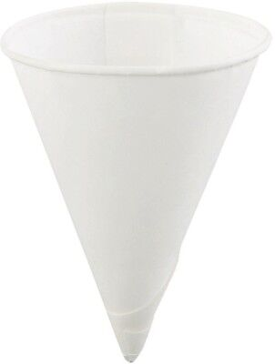 4 oz. Paper Cone Cup Disposable Water Cooler Cups White Rolled Rim (Case of 25)
