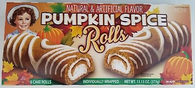 NEW Little Debbie 2017 Pumpkin Spice Rolls 6 Cake Rolls FREE WORLDWIDE SHIPPING