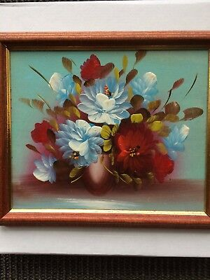 Vintage Oil Painting of Flowers on Board