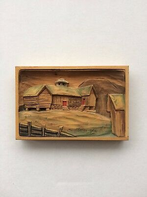 Vintage Hand Carved Signed Wood Picture
