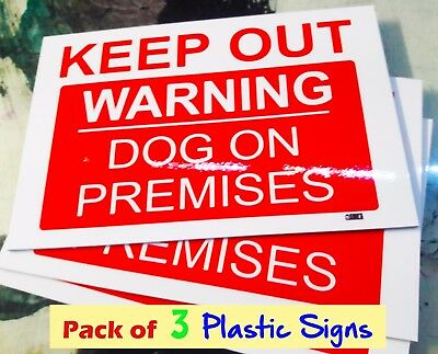 3 PACK Warning KEEP OUT Dog On Premises 300x200mm Plastic SIGN