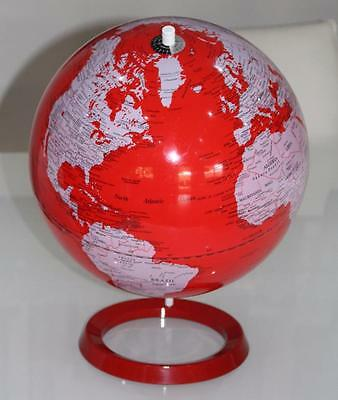 VUE Contemporary World Desk Globe Atlas Metal Stand RED