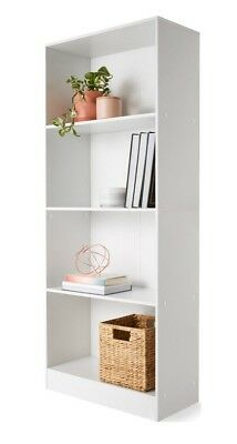White 4 Tier Bookshelf Bookcase Shelves Modern Storage Display Home Study Office
