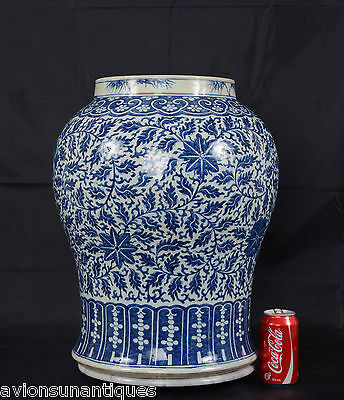 Chinese Porcelain Blue & White Glaze Lotus Vase Qing Dynasty 48cm Antique