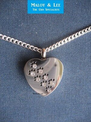 Diamante Paws Heart Cremation Keepsake Pendant Jewellery Necklace Dog Cat Pet