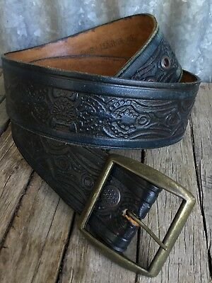 VINTAGE Black TOOLED LEATHER BELT Brass Buckle TOUGH OXEN LEATHER 40
