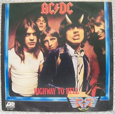 """Ac/Dc """"Highway To Hell"""" 45Gg 7"""" Rare Italian Edition Incl Cover Atlantic W11321"""