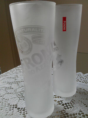 Pair Of Rare Collectable Peroni Nastro Azzurro 300Ml Frosted Beer Glasses Used