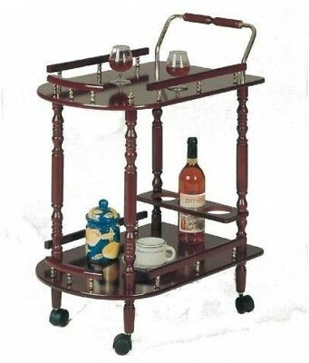 Serving Cart w/ Wine Bottle Holder, Guard Rails and a Bottom Shelf in Cherry