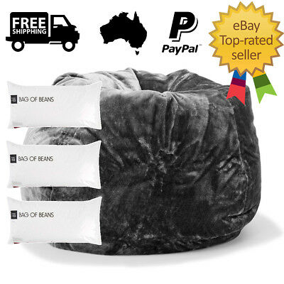 REFILL INCLUDED Extra Large Faux Fur Bean Bag 3 x 100L Kid Beanbag Chair Cozy