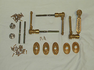Very ornate brass door handles with rosettes