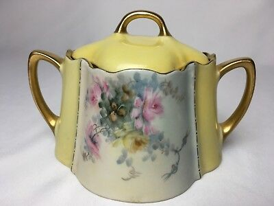 Antique KPM Silesia 1&1/2 Cup Sugar Bowl With Lid Yellow Floral Gold Scalloped